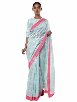 Blue-Pink Chanderi Saree with Blouse Piece (Set of 2)