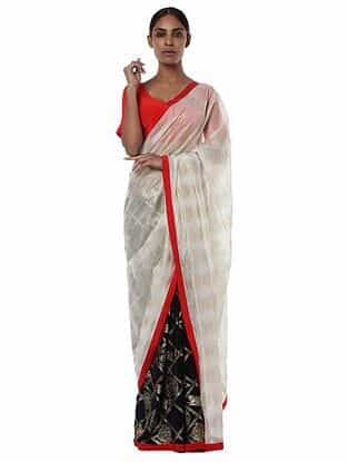 Ivory-Red Crepe Saree with Blouse Piece (Set of 2)