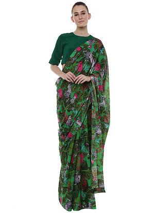 Basil Unicorn Meadow Banarasi Sari with Emerald Blouse Piece (Set of 2)
