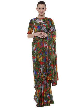 Scarlet Unicorn Meadow Banarasi Sari with Scarlet Unicorn Blouse Piece (Set of 2)