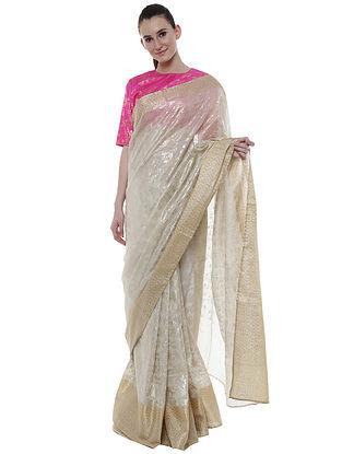 Pearl Gold Tree Grid Palla and Garden Pleats Banarasi Sari with Rani Pink Blouse Piece (Set of 2)