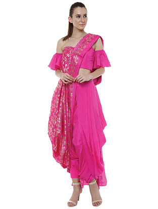 Gold Foil on Cabaret Pink Palla and Plain Rani Pink Dhoti Sari with Attached Blouse (Set of 2)