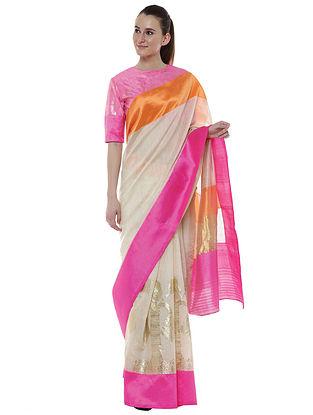 Pearl Banarasi Double Border Saree with Blouse Piece (Set of 2)