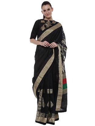 Black Banarasi Multicolor Palla Saree with Blouse Piece (Set of 2)