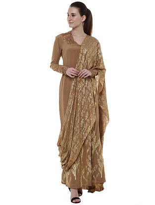 Brown Egyptian Cane and Blooming Garden Gown Sari