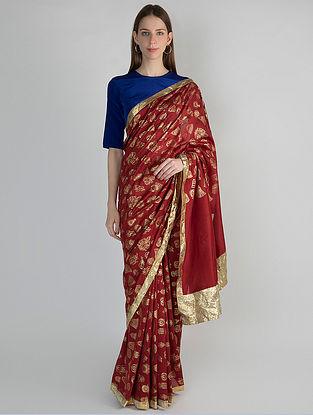 Red Printed Chanderi Saree