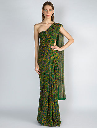 Green-Yellow Printed Crepe Saree