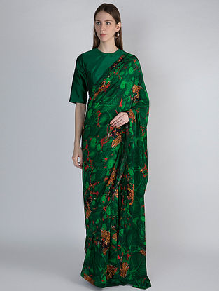 Green Printed Crepe Saree