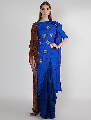 Blue Ombre Dyed Silk Saree with embroidery