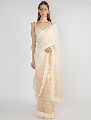 Ivory Printed Organza Crepe Saree with Embroidery