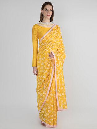 Yellow-Ivory Printed Chanderi Saree