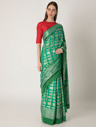 Green Ombre Arrow Print Benarasi Sari with Crepe Blouse Piece (Set of 2)
