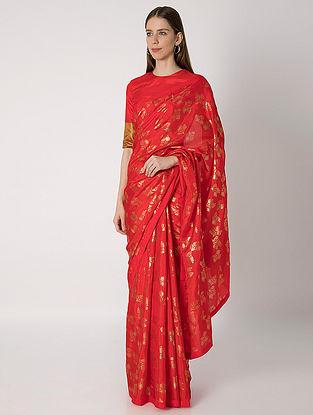 Red Guldasta Print Silk Sari with Blouse Piece (Set of 2)