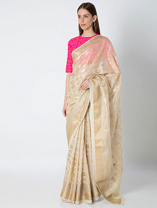 Ivory Arrow Foil Printed Benarasi Sari with Silk Blouse Piece (Set of 2)