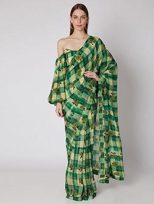 Green Blossoming Checks Organza Silk Saree with Crepe Corset (Set of 2)
