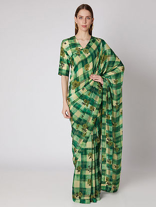 Green Blossoming Checks Crepe Saree with Blouse Piece (Set of 2)