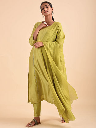 Lime Green Chanderi Dupatta with Sequins