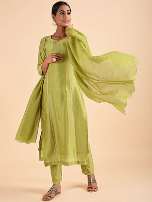 Lime Green Hand Embroidered Chanderi Kurta with Sequins and Mul Slip (Set of 2)