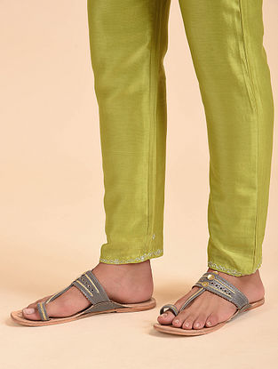 Lime Green Hand Embroidered Chanderi Pants with Cotton Lining