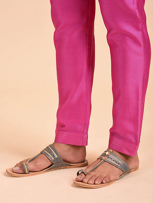 Fuchsia Chanderi Pants with Zari and Cotton Lining