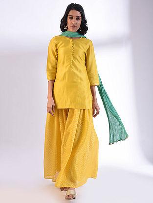Yellow Chanderi Kurta with Gota Detailing