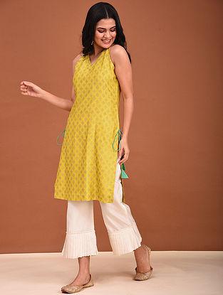 Yellow Block Printed Chanderi Kurta