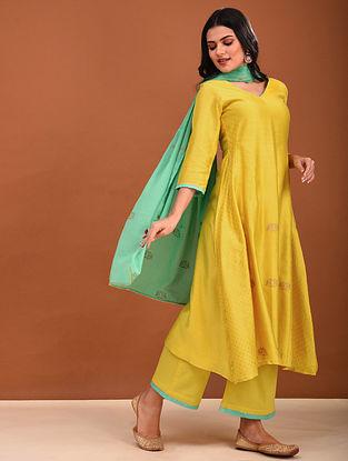 Yellow Block Printed Chanderi Kurta with Gota Detailing
