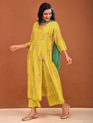 Yellow Block Printed Chanderi Angrakha Kurta