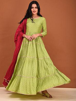 Green Block Printed Muslin Anarkali Kurta with Gota Detailing