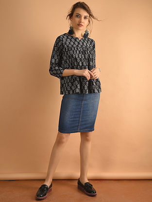 Black Printed Cotton Top with Gathers-L