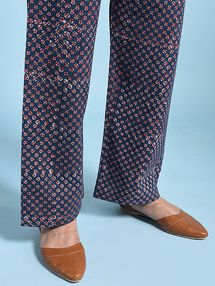 Indigo-Madder Tie-up Waist Fadat-printed Cotton Pants