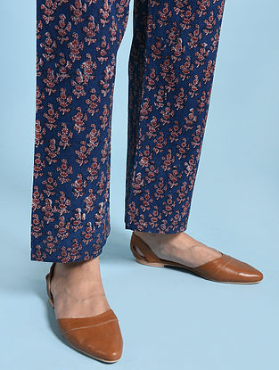 Indigo-Madder Tie-up Waist Fadat-printed Cotton Pants