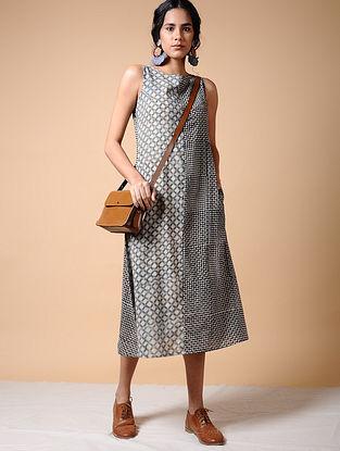 Indigo-Black Dabu-printed Cotton Dress with Pockets