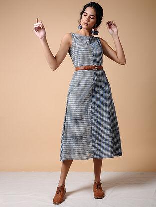 Indigo Dabu-printed Cotton Dress with Pockets