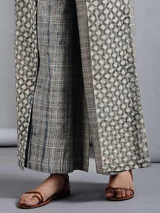 Ivory-Black Elasticated-waist Dabu-printed Cotton Pants with Tie-up