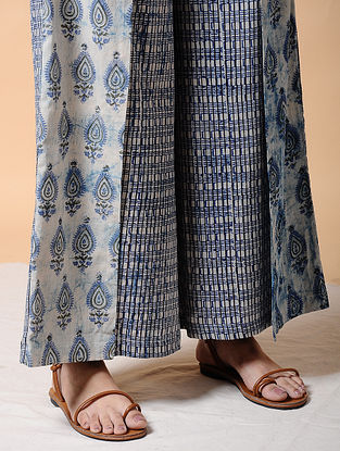 Indigo Elasticated-waist Dabu-printed Cotton Pants with Tie-up Belt