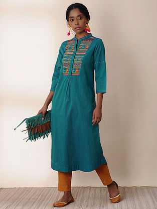 KALHANS - Teal Cotton Kurta with Embroidery