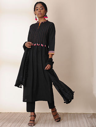 SYAH - Black Embroidered Cotton Kurta with Pintucks