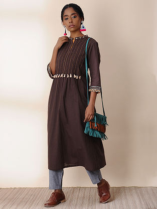 BHURI - Brown Embroidered Cotton Kurta with Pintucks