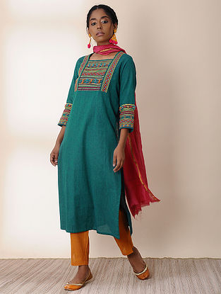 PANAKUKARI - Teal Cotton Kurta with Embroidery