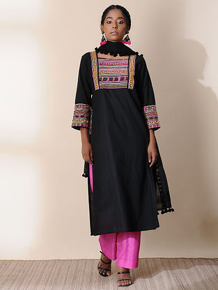 KRISHNA - Black Cotton Kurta with Embroidery