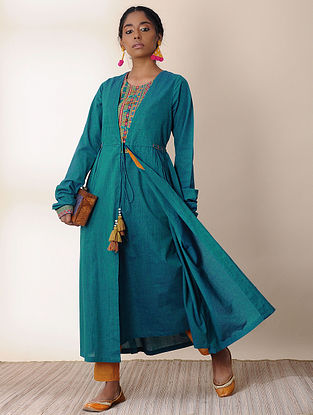 CHAITI - Teal Embroidered Angrakha with Tassels