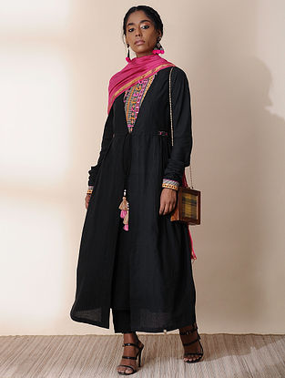 SHYAMA - Black Embroidered Angrakha with Tassels