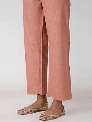 Peach Tie-up Waist Cotton Slub Pants