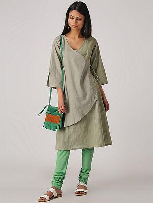 Grey-Green Handloom Cotton Tie-up Kurta