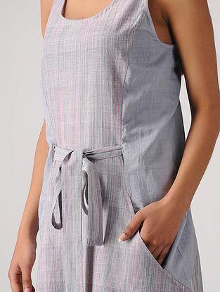 Blue Handloom Cotton Dress with Belt