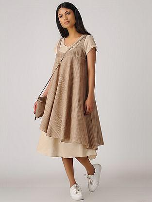 Brown-Beige Handloom Cotton Flared Dress (Set of 2)