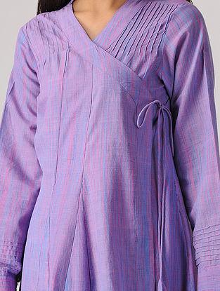 Purple Handloom Cotton Angrakha with Pintucks
