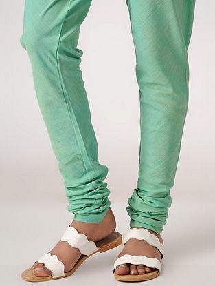 Green Elasticated-waist Handloom Cotton Churidar