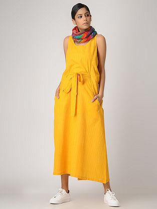 Yellow Handloom Cotton Dress with Belt by Jaypore